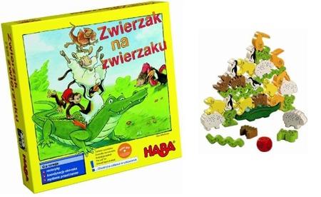 Gra zręcznościowa Zwierzak na zwierzaku - drewniana układanka zwierzątek (Wer. PL), 4+, HABA
