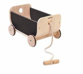 Drewniany wózek – wagon do ciągnięcia czarny, Plan Toys PLTO-8619