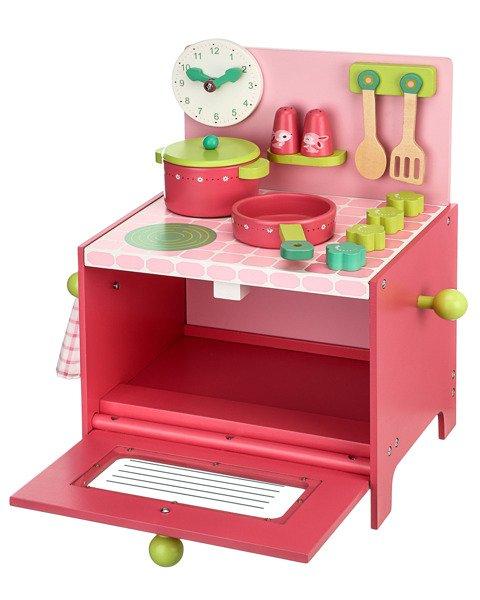Drewniana Kuchnia Lili  kuchenka do zabawy dla dzieci z akcesoriami, Djeco  -> Kuchnia Drewniana Dla Dzieci Zabawki