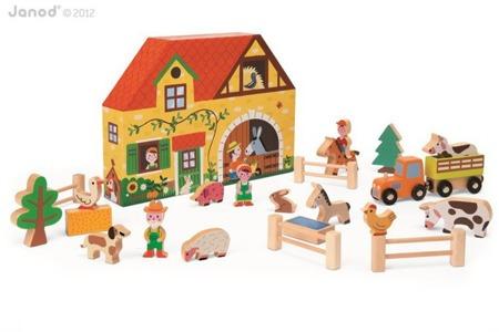 Drewniana farma: zwierzęta, pojazdy i akcesoria - zestaw 19 elementów STORY BOX, Janod