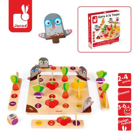 Drewniana gra wyścig Strzeż się kreta! - gra planszowa dla dzieci 3 lata +, JANOD