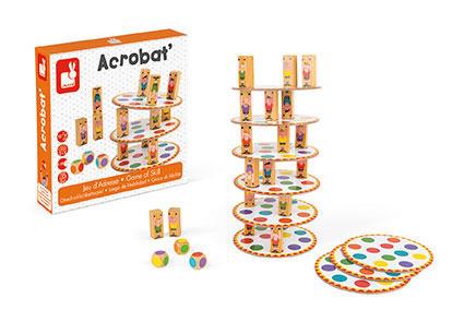 Drewniana gra zręcznościowa Akrobaci, JANOD