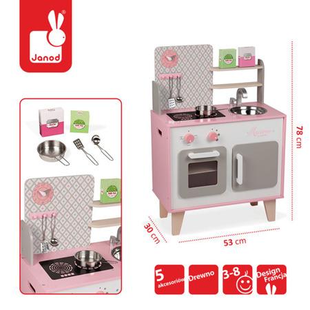 Drewniana kuchnia dla dzieci DUŻA różowa + akcesoria ZESTAW Macaron, JANOD