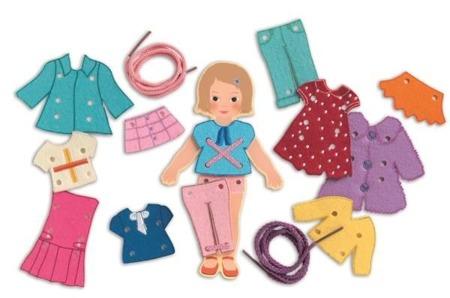 Drewniana nawlekanka moda - ubrania do nawlekania, 3+, DJECO DJ01691