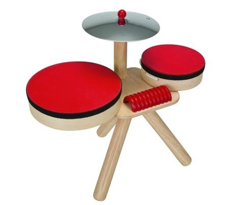 Drewniana perkusja, zestaw muzyczny- 2 bębenki, talerz, pałeczki, Plan Toys