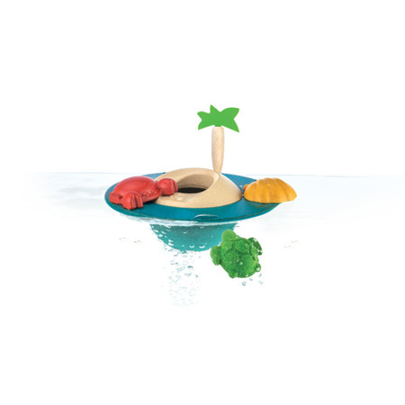 Drewniana pływająca wyspa - zabawka z drewna do wody, wyspa z akcesoriami, Plan Toys