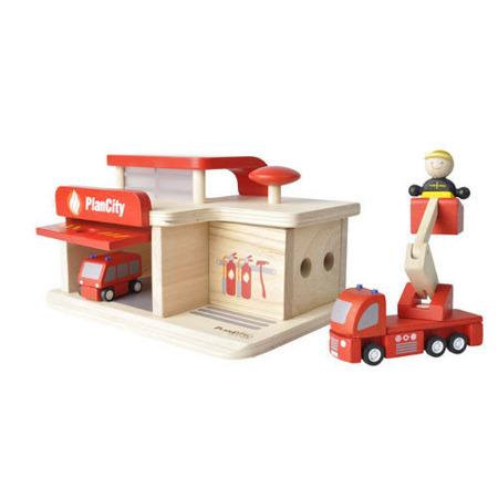 """Drewniana straż pożarna - zestaw do zabawy """"gaszenie pożaru"""", Plan Toys"""