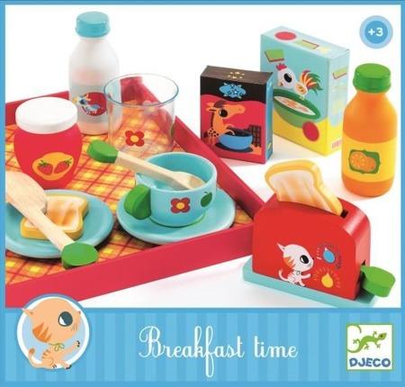Drewniana taca z zestawem śniadaniowym - pyszna śniadanko przygotowane przez dzieci DJECO, DJ06619