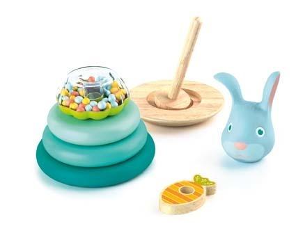 Drewniana układanka, gra - uciekający króliczek, nakładanka dla najmłodszych 18m+, DJECO DJ06414
