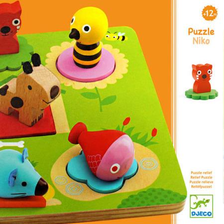 Drewniana układanka przestrzenna - puzzle NIKO, zwierzęta + figury, DJECO