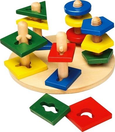 """Drewniana układanka - zabawka logiczna i motoryczna """"Wieże motoryczne"""""""