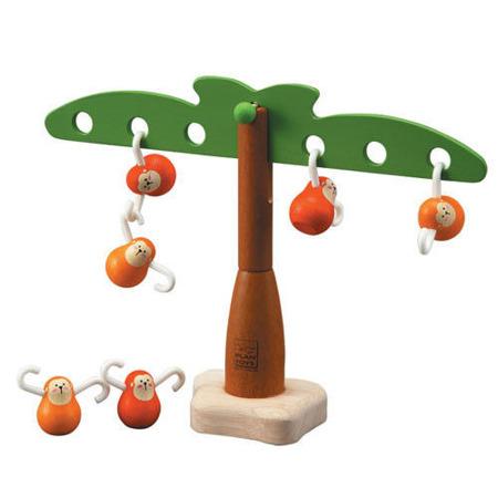 Drewniana zabawka zręcznościowa Balansujące małpki na haczykach, Plan Toys PLTO-5349