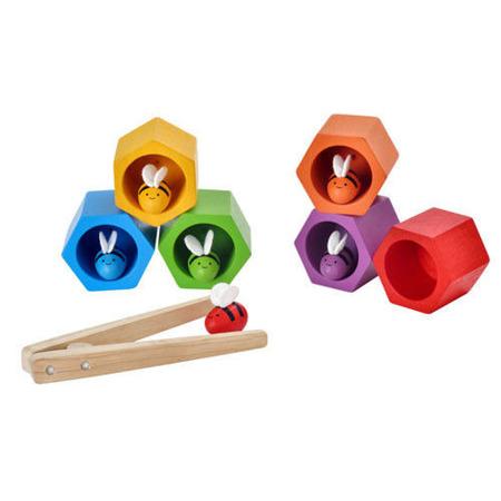 Drewniana zabawka zręcznościowa - plaster miodu z pszczółkami, Plan Toys