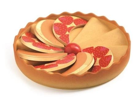 Drewniane ciasto truskawkowe - do odgrywania ról i zabawy w cukiernię, kucharza etc. DJECO DJ06525