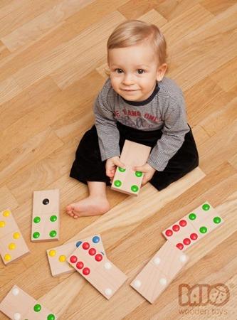 Drewniane domino XXL - duże domino z drewna, układanka dla dzieci, BAJO