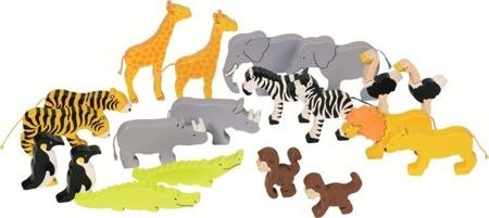 Drewniane figurki Afrykańskie zwierzęta, 20 figurek zwierząt, GOKI 56927