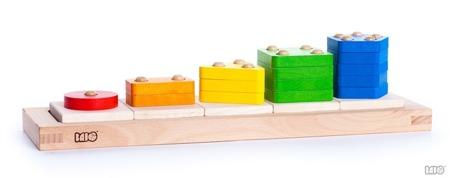 Drewniane figury geometryczne do sortowania - sorter z bolcami, BAJO