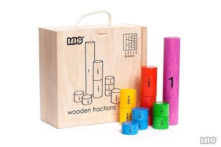 Drewniane klocki do nauki ułamków, części - klocki do nauki matematyki, BAJO