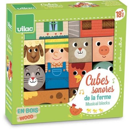 Drewniane klocki sensoryczne dla najmłodszych FARMA, zwierzęta 11 el., 18m+, VILAC