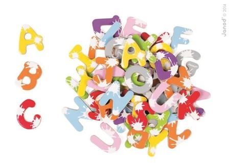 Drewniane literki magnesy - 52 magnesy do nauki literek, czytania pierwszych słów, JANOD