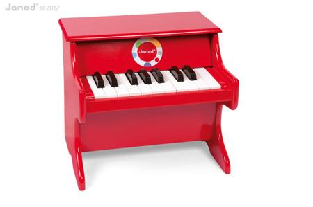 Drewniane pianino Confetti - czerwone pianinko muzyczne dla dzieci, JANOD