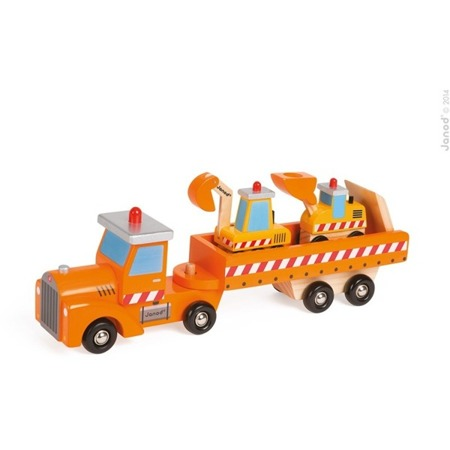 Drewniane pojazdy budowlane na ciężarówce - KOPARKA, ŁADOWARKA