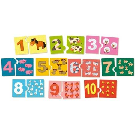 Drewniane puzzle - nauka liczenia do dziesięciu, 20 el., VILAC
