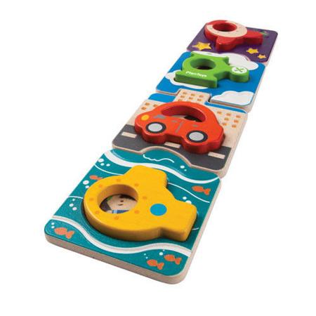Drewniane puzzle pojazdy - układanka z drewna super AUTKA, Plan Toys PLTO-5675