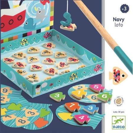 Drewniane rybki z kolorami i cyferkami - zabawka edukacyjna zręcznościowa NAVY LOTO, DJECO DJ01688