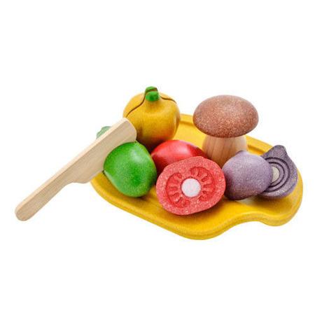Drewniane warzywa z deską do krojenia - zestaw warzyw do kuchni dla dzieci, Plan Toys