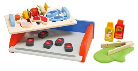 Drewniany grill Barbecue z 25 akcesoriami - zestaw do grillowania dla dzieci, SEVI