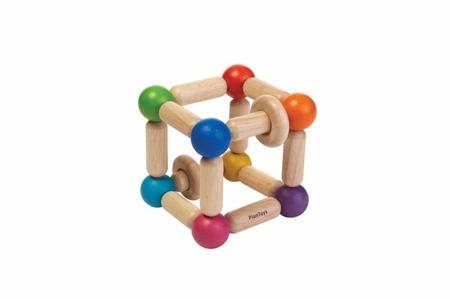 Drewniany gryzak ekologiczny - grzechotka dla niemowląt kwadrat z drewna Plan Toys, PLTO-5245