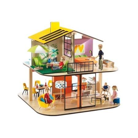 Drewniany, piętrowy domek dla lalek - nowoczesny, DJECO, DJ07803