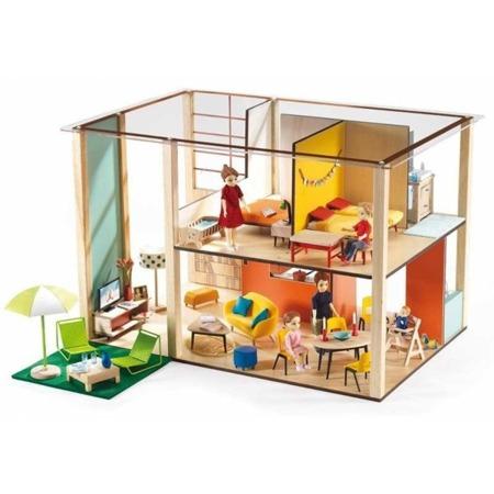 Drewniany, piętrowy domek dla lalek - nowoczesny domek CUBIC, DJECO, DJ07801