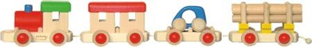 Drewniany pociąg towarowy - zestaw lokomotywa + wagoniki, zdejmowane części, BAJO