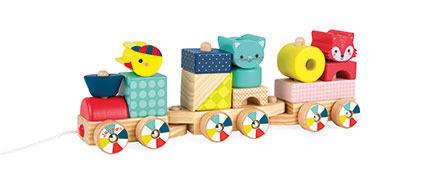 Drewniany pociąg z klockami do ciągnięcia Baby Forest - pociąg sorter 12m+, Janod