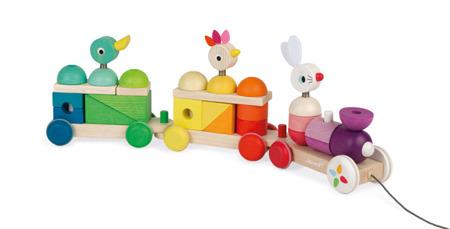 Drewniany pociąg z klockami i zwierzątkami do ciągnięcia - na sznurku, JANOD