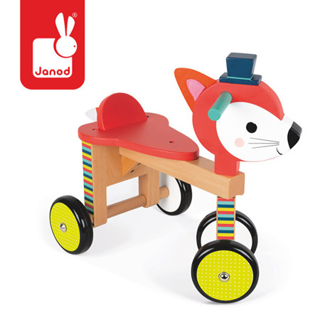 Drewniany rowerek biegowy bez hamulców i pedałów czterokołowy Lisek Baby Forest, 12m+,  Janod