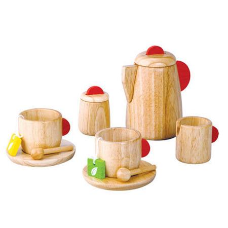 Drewniany serwis do herbaty - dzbanek, filiżanki i akcesoria Plan Toys