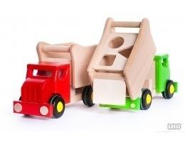 Drewniany sorter - ciężarówka wywrotka sorter dla dzieci, BAJO