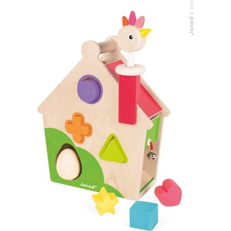 Drewniany sorter - kurnik przebijanka z jajkiem i figurkami, JANOD J08232