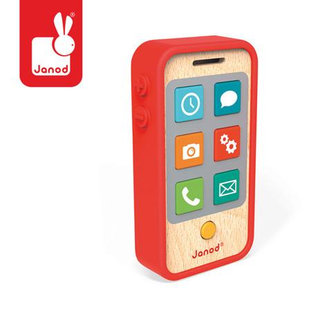 Drewniany telefon komórkowy dla dzieci z dźwiękami, JANOD
