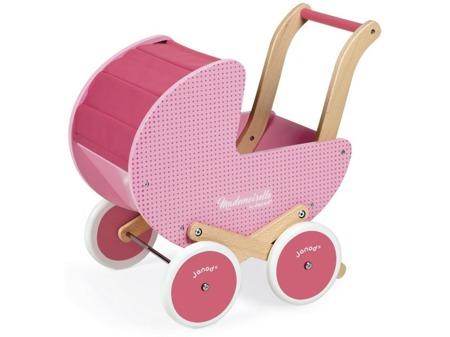 Drewniany wózek dla lalek Mademoisell - różowy wózeczek dla lalek, JANOD