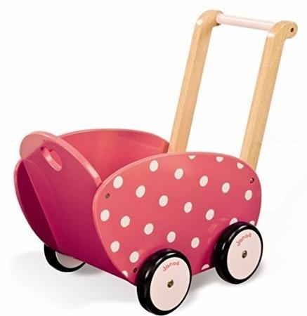 Drewniany wózek dla lalek z materacem - malinowy wózek w grochy, Janod
