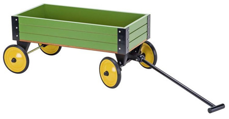 Drewniany wózek do ciągnięcia dla dzieci - zielony wózek GOKI