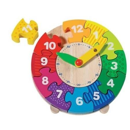"""Drewniany zegar do nauki godzin - układanka, puzzle """"która godzina"""", GOKI"""