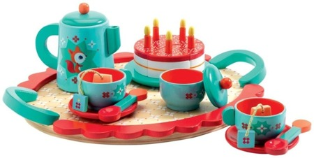 Drewniany zestaw Przyjęcie urodzinowe - zabawkowy zestaw do herbaty dla dzieci, Djeco