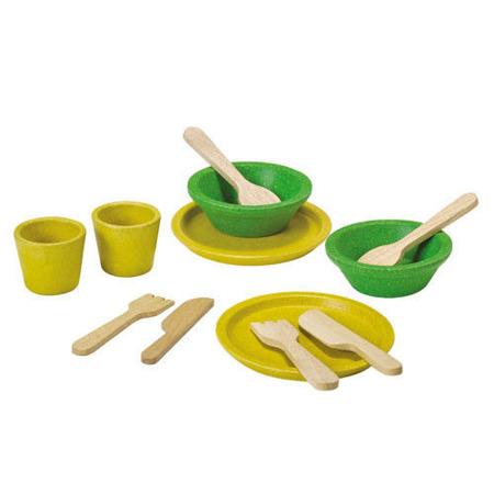 Drewniany zestaw obiadowy - serwis obiadowy do zabawy, Plan Toys