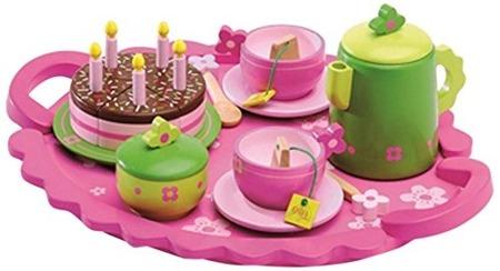 Drewniany zestaw przyjęcie urodzinowe Djeco - duży zestaw: taca, dzbanek, tort, talerze, filiżanki, cukiernica