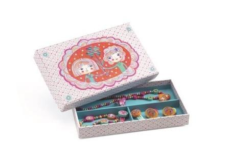 Drewniany zetaw biżuterii - biżuteria dla dziewczynek w ozdobnym pudełku DJECO DJ06589